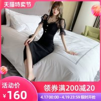Dress Summer 2021 black S M L Mid length dress singleton  Short sleeve commute stand collar High waist Solid color zipper One pace skirt Petal sleeve camisole 25-29 years old nanoampere  Korean version Zipper lace 31% (inclusive) - 50% (inclusive) nylon Pure e-commerce (online only)