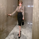 Dress Spring 2021 black S M L Mid length dress singleton  Long sleeves commute V-neck High waist Leopard Print Socket One pace skirt routine 25-29 years old Type H nanoampere  Button L 6140 More than 95% polyester fiber Polyester 100% Pure e-commerce (online only)