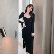 Dress / evening wear Wedding party company annual meeting date S M L black Intellectuality Medium length High waist Spring 2021 Self cultivation Deep collar V Hollowing out 26-35 years old L 4632 Long sleeves Embroidery Solid color nanoampere  routine Viscose (viscose) 78% polyester 22%