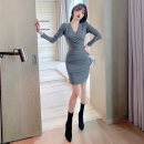 Dress Spring 2021 grey S M L Short skirt singleton  Long sleeves commute V-neck High waist Solid color Socket One pace skirt routine Others 25-29 years old Type H nanoampere  Korean version zipper L 4562 51% (inclusive) - 70% (inclusive) cotton Cotton 53.7% polyester 38.2% polyurethane elastane 8.1%