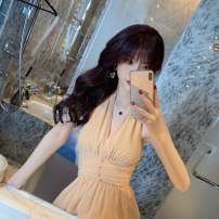 Dress Summer 2021 Apricot S M L Mid length dress singleton  Sleeveless commute V-neck High waist Solid color zipper other other Hanging neck style 25-29 years old nanoampere  Retro Open back zipper L 3967 More than 95% polyester fiber Polyester 100% Pure e-commerce (online only)