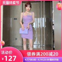 Dress / evening wear Wedding, adulthood party, performance, daily appointment S M L violet sexy Short skirt High waist Summer 2021 Short buttocks Sling type zipper cotton 26-35 years old L 3935 Sleeveless Solid color nanoampere  other Cotton 53.7% polyester 38.2% polyurethane elastane 8.1%