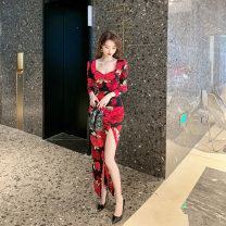 Dress / evening wear Wedding party company annual meeting S M L XL Decor grace longuette High waist Spring 2021 other One shoulder zipper spandex 26-35 years old L 4413 Long sleeves flower Decor nanoampere  routine Polyester fiber 80% polyurethane elastic fiber (spandex) 20% Non handmade flower