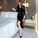 Dress Spring 2021 black S M L Mid length dress singleton  Long sleeves commute V-neck High waist Solid color zipper One pace skirt routine Others 25-29 years old Type A nanoampere  Korean version Button L 4474 81% (inclusive) - 90% (inclusive) polyester fiber Pure e-commerce (online only)