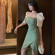 Dress / evening wear Wedding, adulthood party, performance, daily appointment S M L green fashion Medium length High waist Summer 2021 Self cultivation zipper spandex 26-35 years old L 3882 Short sleeve Solid color nanoampere  puff sleeve Pure e-commerce (online only)