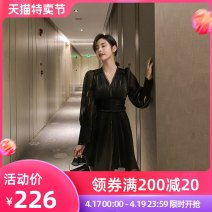 Dress Autumn 2020 White black S M L Middle-skirt singleton  Long sleeves street V-neck High waist Solid color zipper A-line skirt bishop sleeve Others 25-29 years old Type A nanoampere  zipper LL 350200 More than 95% organza  polyester fiber Polyester 100% Pure e-commerce (online only)