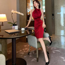 Dress / evening wear Party company annual meeting S M L claret sexy Middle-skirt High waist Spring 2021 Self cultivation Hanging neck style zipper 26-35 years old L 4310 Solid color nanoampere  other Polyester 100% Pure e-commerce (online only) 96% and above