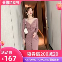 Dress Spring 2021 Bean paste S M L Mid length dress singleton  Long sleeves commute V-neck High waist Solid color Single breasted One pace skirt routine Others 25-29 years old Type H nanoampere  Retro Button L 4428 81% (inclusive) - 90% (inclusive) polyester fiber Pure e-commerce (online only)