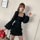 Dress Spring 2021 black S M L Short skirt singleton  Long sleeves commute One word collar High waist Solid color zipper A-line skirt routine Others 25-29 years old Type A nanoampere  court Splicing L 9239 More than 95% polyester fiber Polyester 100% Pure e-commerce (online only)