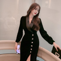 Dress Spring 2021 black S M L XL longuette singleton  Long sleeves commute V-neck High waist Solid color zipper other routine Others 25-29 years old Type H nanoampere  court Inlaid with diamond and nail beads L 4492 91% (inclusive) - 95% (inclusive) polyester fiber Pure e-commerce (online only)