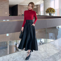 skirt Spring 2021 S M L black longuette commute High waist A-line skirt Solid color Type A 25-29 years old L 4411 More than 95% other nanoampere  polyester fiber zipper Retro Polyester 100% Pure e-commerce (online only)