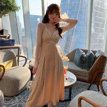 Dress / evening wear Wedding party routine S M L Apricot Intellectuality longuette High waist Autumn 2020 A-line skirt Deep collar V Deep V style spandex 26-35 years old LL 36100 Long sleeves Solid color nanoampere  bishop sleeve Polyester fiber 93.7% polyurethane elastic fiber (spandex) 6.3%