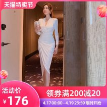 Dress / evening wear Wedding, adult party, company annual meeting, daily appointment S M L white Intellectuality Medium length High waist Spring 2021 Self cultivation Deep collar V Deep V style spandex 26-35 years old L 4358 Nine point sleeve other nanoampere  routine Pure e-commerce (online only)