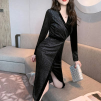 Dress Spring 2021 silvery S M L Mid length dress singleton  Long sleeves commute V-neck High waist other zipper One pace skirt routine Others 25-29 years old Type H nanoampere  lady Splicing L 4596 91% (inclusive) - 95% (inclusive) polyester fiber Pure e-commerce (online only)