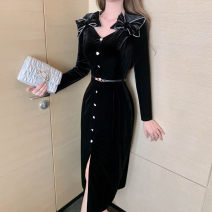 Dress / evening wear Party company annual meeting daily appointment S M L black other Medium length High waist Spring 2021 Self cultivation zipper spandex 26-35 years old L 4633 Long sleeves Diamond ornament Solid color nanoampere  routine Polyester 92.5% polyurethane elastic fiber (spandex) 7.5%