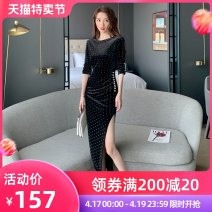 Dress / evening wear Party company annual meeting date S M L XL black Korean version longuette High waist Spring 2021 other zipper spandex 26-35 years old L 4392 three quarter sleeve Nail bead other nanoampere  other Polyester 92.5% polyurethane elastic fiber (spandex) 7.5%