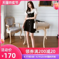Dress Spring 2020 black S M L Short skirt singleton  Short sleeve commute V-neck High waist Solid color zipper A-line skirt Others 25-29 years old Type A nanoampere  lady Splicing B1748 31% (inclusive) - 50% (inclusive) nylon Pure e-commerce (online only)