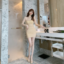 Dress / evening wear Wedding party daily appointment S M L XL Apricot Intellectuality Short skirt High waist Spring 2021 Short buttocks Chest type zipper spandex 26-35 years old Long sleeves Solid color nanoampere  other Polyamide fiber (nylon) 94.5% polyurethane elastic fiber (spandex) 5.5%