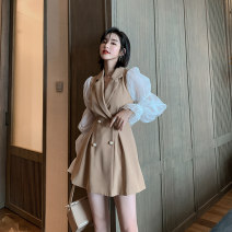 Dress Spring 2021 khaki S M L Short skirt singleton  Long sleeves commute V-neck High waist other double-breasted A-line skirt bishop sleeve Others 25-29 years old Type A nanoampere  lady Button lapel LL 346400 91% (inclusive) - 95% (inclusive) other polyester fiber Pure e-commerce (online only)