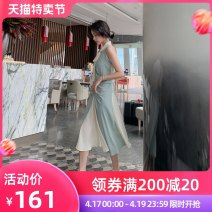 Dress Summer 2020 blue S M L Mid length dress singleton  Sleeveless Sweet V-neck middle-waisted Solid color zipper Irregular skirt other Others 30-34 years old Type A nanoampere  Bow and ruffle L 1988 More than 95% polyester fiber Polyester 100% Pure e-commerce (online only)