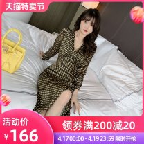 Dress / evening wear Wedding party show daily date S M L yellow Intellectuality longuette High waist Spring 2021 A-line skirt Deep collar V Deep V style 26-35 years old L 9234 Long sleeves lattice nanoampere  Pile sleeve Polyester 100% Pure e-commerce (online only) 96% and above