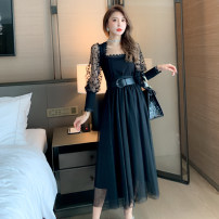 Dress Spring 2021 black S M L longuette Two piece set Long sleeves commute square neck middle-waisted Solid color Socket Pleated skirt bishop sleeve Others 25-29 years old Type A nanoampere  Korean version 30% and below nylon Pure e-commerce (online only)