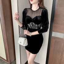 Dress / evening wear Wedding party S M L black sexy Short skirt High waist Spring 2021 Short buttocks Chest type Hollowing out spandex 26-35 years old nanoampere  routine Polyester 92.5% polyurethane elastic fiber (spandex) 7.5% Pure e-commerce (online only) 81% (inclusive) - 90% (inclusive)