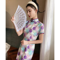 cheongsam Spring 2021 S M L XL XXL Fleeting time Short sleeve long cheongsam Retro High slit daily Oblique lapel other 18-25 years old Piping Love clothes polyester fiber Polyester 100% Exclusive payment of tmall