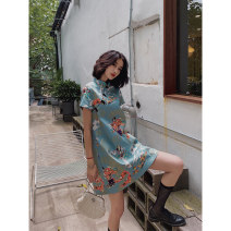 cheongsam Summer of 2019 S M L Calgary Korean Edition Short sleeve Short cheongsam Retro No slits daily Oblique lapel Cartoon animation 18-25 years old Piping YC-8018 Love clothes cotton Cotton 95% other 5% Pure e-commerce (online only)