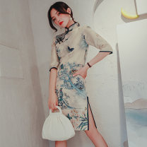 cheongsam Autumn 2020 M L XL XXL XXXL birds ' twitter and fragrance of flowers three quarter sleeve Short cheongsam Retro Low slit daily Oblique lapel 18-25 years old Piping Love clothes polyester fiber Polyester 95% polyurethane elastic fiber (spandex) 5% Exclusive payment of tmall