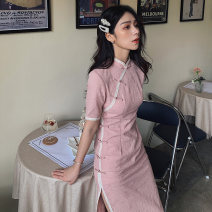 cheongsam Summer 2020 S M L XL XXL Cherry Blossom powder Short sleeve long cheongsam Retro High slit daily Oblique lapel Solid color 18-25 years old Piping YC-2115 Love clothes polyester fiber Polyester 95% polyurethane elastic fiber (spandex) 5% Exclusive payment of tmall
