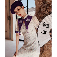 cheongsam Summer 2021 S M L XL be unequaled in beauty Short sleeve Short cheongsam Retro No slits daily Round lapel Broken flowers 18-25 years old Embroidery YC-2350 Love clothes polyester fiber Polyester 100% Pure e-commerce (online only)