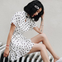 cheongsam Summer 2020 S M L XL XXL White wave point Short sleeve Short cheongsam Retro No slits daily Round lapel Dot 18-25 years old Piping Love clothes polyester fiber Polyester 95% polyurethane elastic fiber (spandex) 5% Exclusive payment of tmall
