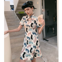 cheongsam Spring 2021 S M L XL dexterous Short sleeve Short cheongsam Retro Low slit daily Round lapel Animal design 18-25 years old Piping YC-2362 Love clothes polyester fiber Polyester 100% Pure e-commerce (online only)