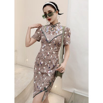 cheongsam Spring 2021 S M L XL Short sleeve Short cheongsam Retro Low slit daily Round lapel other 18-25 years old Piping Love clothes polyester fiber Polyester 100% Pure e-commerce (online only)