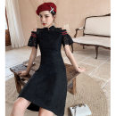 cheongsam Spring 2021 S M L XL Black Lace  Short sleeve Short cheongsam Retro No slits daily Round lapel Solid color 18-25 years old Piping YC-2025 Love clothes other Other 100% Exclusive payment of tmall
