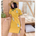 cheongsam Summer of 2019 S M L XL XXL The color of summer - yellow Short sleeve Short cheongsam Retro High slit daily Oblique lapel Animal design 18-25 years old Embroidery XS-903 Love clothes polyester fiber Polyester 88% polyurethane elastic fiber (spandex) 12% Pure e-commerce (online only)
