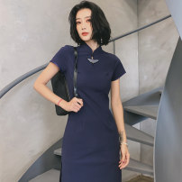 cheongsam Summer of 2019 S M L XL XXL XXXL Shanghai 1943 Short sleeve Short cheongsam Retro High slit daily Round lapel Solid color 25-35 years old Piping GSJ-1235 Love clothes cotton Cotton 95% polyester 5% Pure e-commerce (online only)