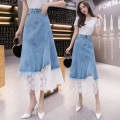 skirt Spring 2021 S,M,L,XL,2XL blue Mid length dress commute High waist Denim skirt Solid color Type A 18-24 years old N1 25 Denim cotton Korean version