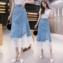 skirt Spring 2021 S,M,L,XL,2XL blue Mid length dress commute High waist Denim skirt Solid color Type A 18-24 years old N1 25 Denim cotton Korean version