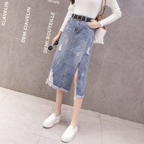 skirt Autumn 2020 S,M,L,XL,2XL wathet Mid length dress Versatile High waist Denim skirt 18-24 years old 5 9 Other / other