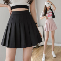 skirt Spring 2021 S,M,L,XL,2XL Gray, white, black, pink Short skirt commute High waist Pleated skirt Solid color Type A 25-29 years old N1 7 Korean version