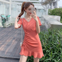 Dress Summer 2021 Black, Avocado Green, orange S,M,L,XL Short skirt singleton  Short sleeve commute V-neck middle-waisted Solid color routine Others 18-24 years old Other / other Korean version N1 16 51% (inclusive) - 70% (inclusive) brocade cotton
