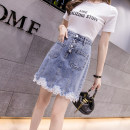skirt Spring 2021 S,M,L,XL blue Short skirt Versatile High waist Denim skirt Solid color Type A 18-24 years old 5 19 Denim Other / other