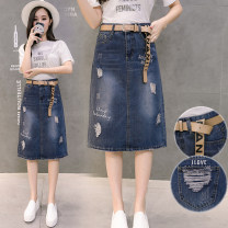 skirt Spring 2021 S,M,L,XL,2XL,3XL Blue, black, blue + belt, black + belt Middle-skirt Versatile High waist Denim skirt Type A 18-24 years old 2 13N Other / other Open line decoration