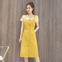 Dress Summer 2021 Army green, ginger yellow, sapphire blue S,M,L,XL,2XL Two piece set Short sleeve commute Single breasted A-line skirt routine 18-24 years old Type A Other / other Korean version 5 22 81% (inclusive) - 90% (inclusive)