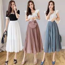 skirt Summer 2021 Average size White, blue, black, pink Mid length dress commute High waist Pleated skirt Solid color Type A 18-24 years old 3 24 1 Chiffon other Gauze, pleats Korean version