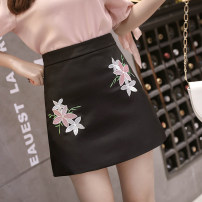 skirt Spring 2021 S,M,L,XL Dark blue, pink, black Short skirt commute High waist skirt Solid color Type A 18-24 years old 2 20 31% (inclusive) - 50% (inclusive) other Other / other cotton zipper Korean version