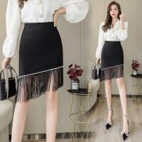 skirt Summer 2021 S,M,L,XL,2XL black Short skirt commute High waist skirt Solid color Type A 25-29 years old 3 18 1 30% and below brocade cotton Asymmetry, tassel, zipper Korean version