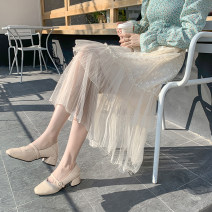 skirt Spring 2021 Average size Apricot, white, black Mid length dress commute High waist Cake skirt Solid color Type A 18-24 years old 51% (inclusive) - 70% (inclusive) Lace Korean version